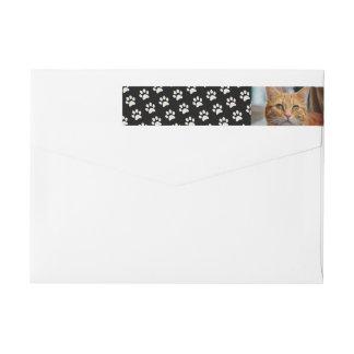 Your Cat Photo with Paw Print Pattern Custom Wrap Around Label