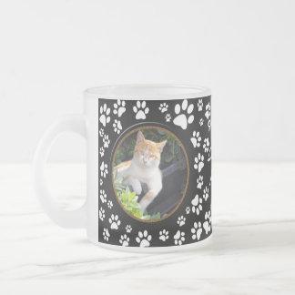 Your Cat Photos Memorial Paw Prints on Black Mug