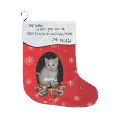 Your Cat's Christmas Stocking - Dear Santa Large Christmas Stocking