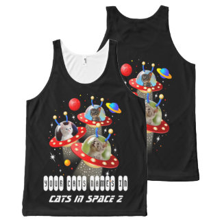Your Cats in an Alien Spaceship UFO Sci Fi Film All-Over-Print Tank Top