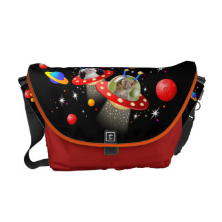 Your Cats in an Alien Spaceship UFO Sci Fi Scene Courier Bag