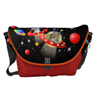 Your Cats in an Alien Spaceship UFO Sci Fi Scene Messenger Bag