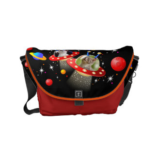 Your Cats in an Alien Spaceship UFO Sci Fi Scene Small Messenger Bag