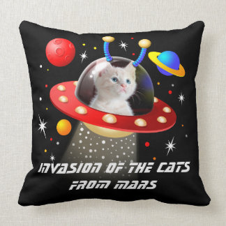Your Cats in an Alien Spaceship UFO Sci Fi Scene T Throw Pillow
