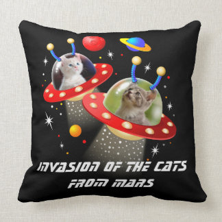 Your Cats in an Alien Spaceship UFO Sci Fi Scene Throw Pillow