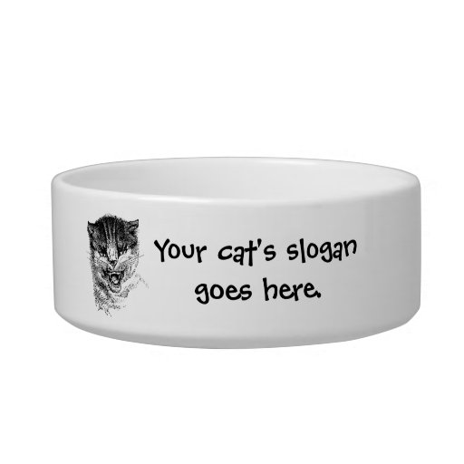 Your cat's slogan and photo go here pet food bowl