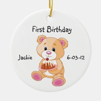 Your Child's First Birthday Teddy Bear Ornament