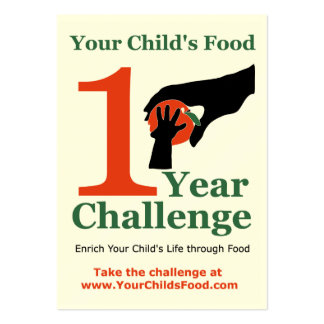 Your Child's Food 1 Year Challenge Card Large Business Cards (Pack Of 100)