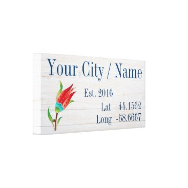 Professional Business Your City or Family Name Latitude and Longitude Canvas Print