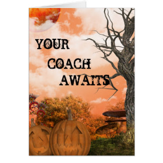 Your Coach Awaits Halloween 2 Invite Greeting Cards