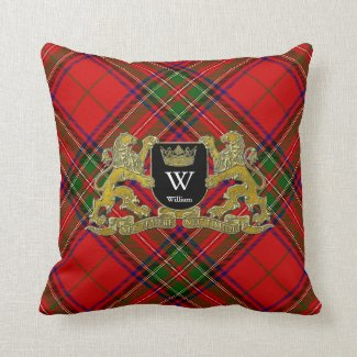 Your Coat of Arms Monogram and Tartan Throw Pillow