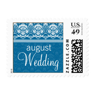 YOUR COLOR Elegant Damask Lace August Wedding Postage