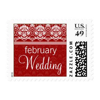 YOUR COLOR Elegant Damask Lace February Wedding Stamp
