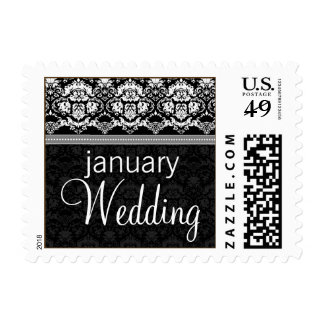 YOUR COLOR Elegant Damask Lace January Wedding Postage