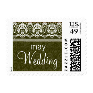 YOUR COLOR Elegant Damask Lace May Wedding Postage