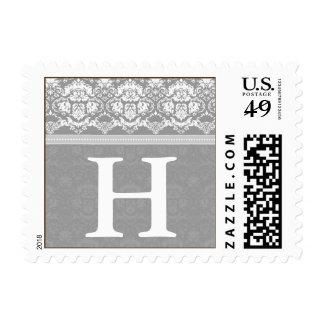 YOUR COLOR Elegant Damask Lace Monogram H stamp