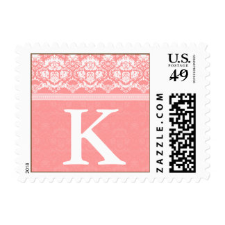 YOUR COLOR Elegant Damask Lace Monogram K stamp