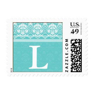 YOUR COLOR Elegant Damask Lace Monogram L stamp