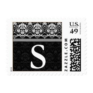 YOUR COLOR Elegant Damask Lace Monogram S stamp