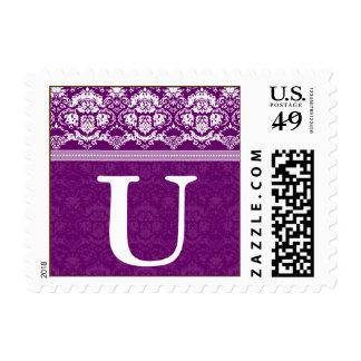 YOUR COLOR Elegant Damask Lace Monogram U stamp