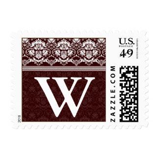 YOUR COLOR Elegant Damask Lace Monogram W stamp