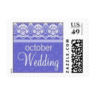 YOUR COLOR Elegant Damask Lace October Wedding Stamps