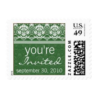 YOUR COLOR Elegant Damask You're Invited Stamp