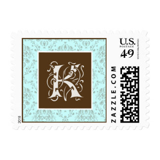 YOUR COLOR Vintage Baroque Monogram K Postage