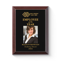 Your Company Gold Logo Employee of the Year Award Plaque