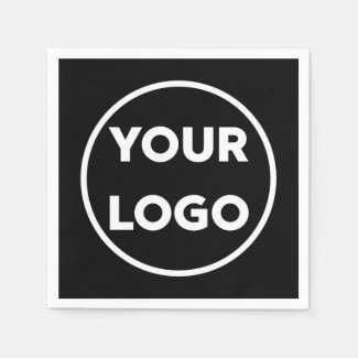 Your Company Logo Business Corporate Event Black Napkin
