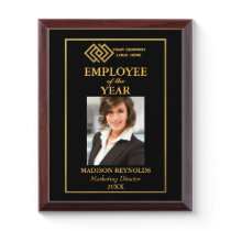 Your Company Logo Gold Employee of the Year 8x10 Award Plaque