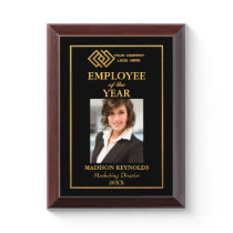 Your Company Logo Gold Employee of the Year Award Plaque