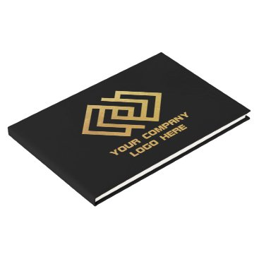 Beach Themed Your Company Logo Guest Book Black