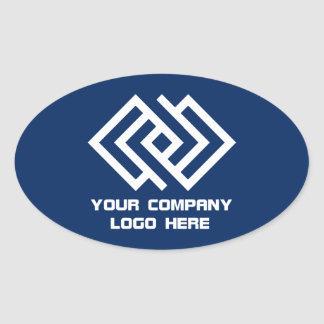 Your Company Logo Stickers Oval - Choose Color