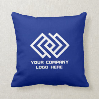 Your Company Logo Throw Pillow Blue or Your Color
