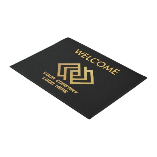 Your Company Logo Welcome Mat Black Gold