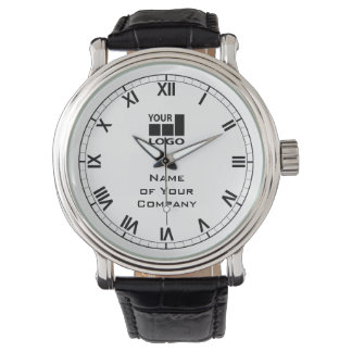 Your Company Name and Logo Simple Black and White Watch