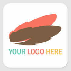 Your company or business logo square promotional square sticker at Zazzle