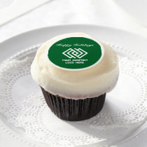 Your Company Party Logo Holiday Green Edible Frosting Rounds