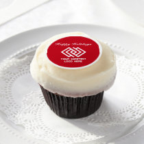 Your Company Party Logo Holiday Red Edible Frosting Rounds