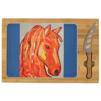 Your Custom Icon Cheese Board with Bright Horse