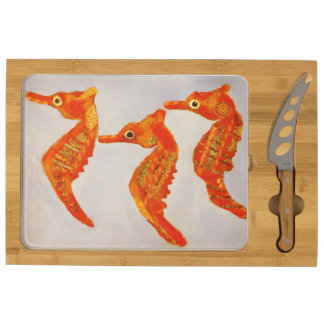 Your Custom Icon Cheese Board with Sea Horses