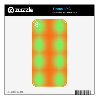 Your Custom iPhone 4/4S Skin GREEN ORANGE GRUNGE Decals For The iPhone 4S