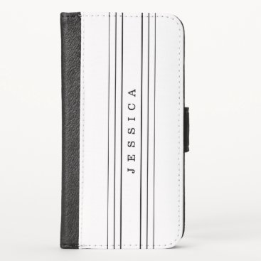 Your Custom Text & Modern Stripes | Black & White iPhone XS Wallet Case
