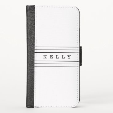 Your Custom Text & Modern Stripes | Black & White iPhone X Wallet Case