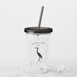 your custom text name Great Blue Heron silhouette  Acrylic Tumbler
