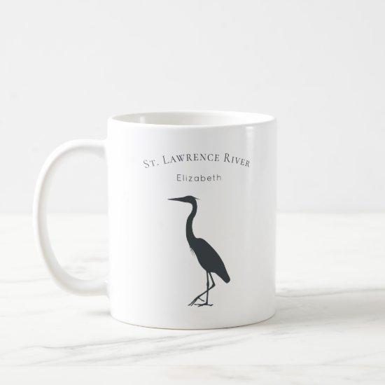 your custom text name Great Blue Heron silhouette Coffee Mug