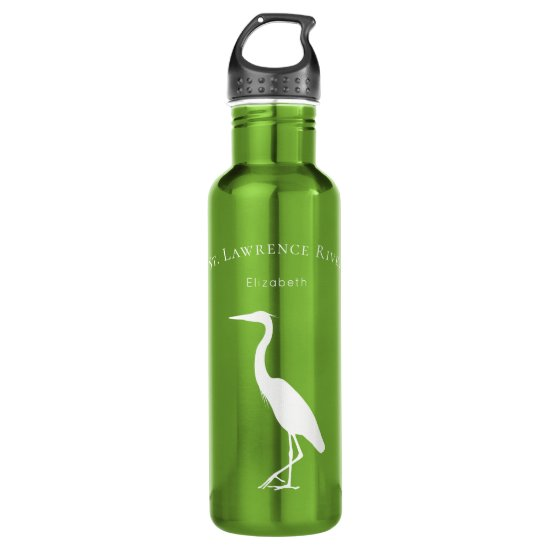 your custom text name Great Blue Heron silhouette Stainless Steel Water Bottle