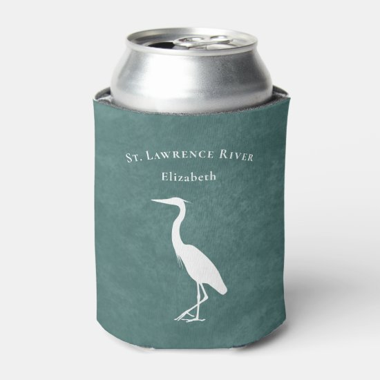 your custom text teal blue Heron Egret silhouette Can Cooler