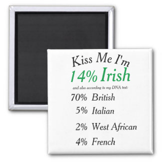 Your Customized DNA Tested Kiss Me I'm Irish! 2 Inch Square Magnet